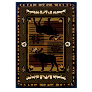 "Wildwood Moose Hunt Terracotta Hand-carved Area Rug - 5'3"" x 7'6"""