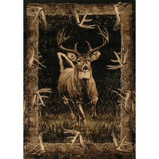 Westfield Home Wildwood Regal Run Toffee Polypropylene Hand-carved Area Rug (5'3 x 7'6)