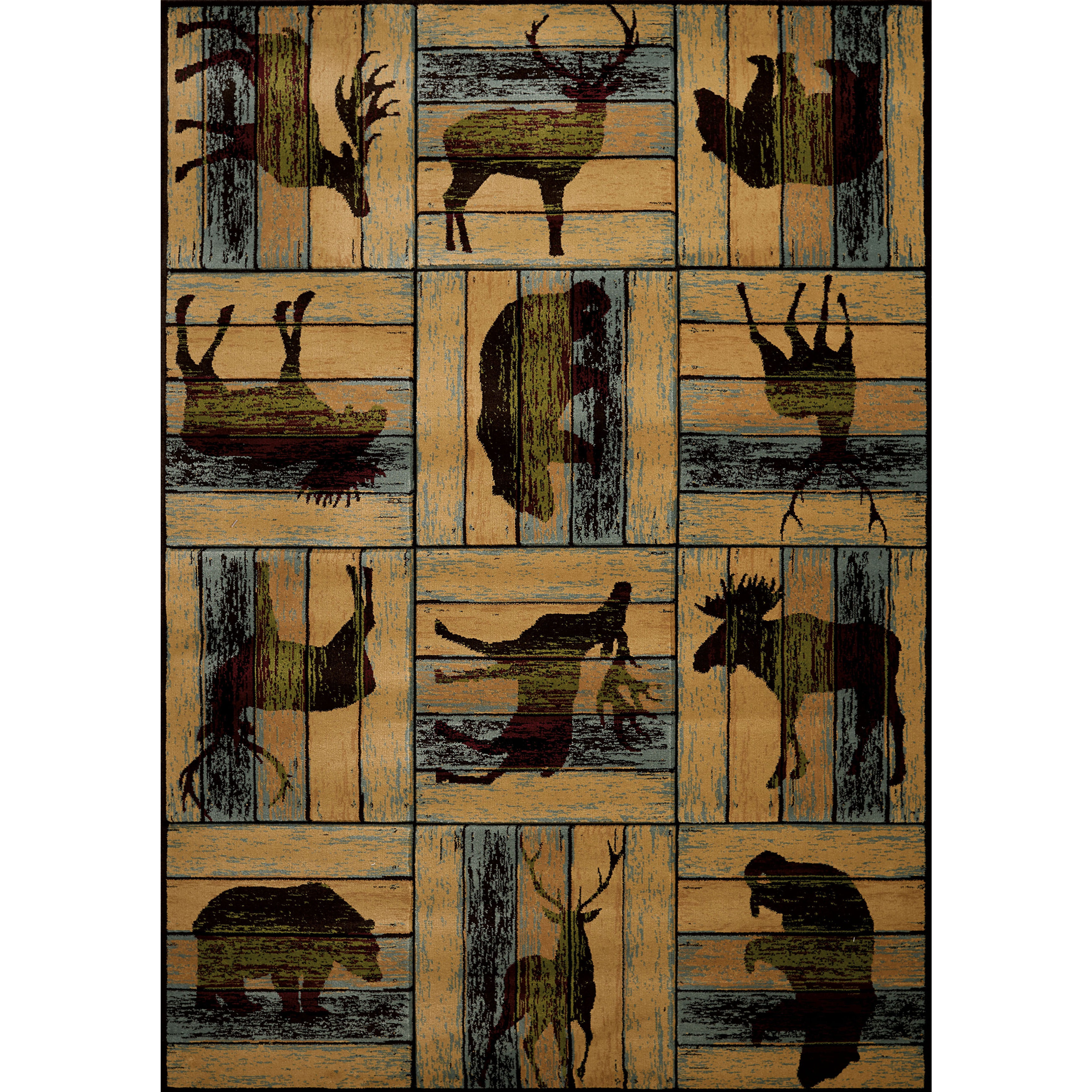 Wildwood Animal Blocks Multicolored Hand-carved Area Rug – 5'3″ x 7'6″ (Multi)