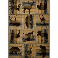 """Wildwood Animal Blocks Multicolored Hand-carved Area Rug (5'3 x 7'6) - 5'3"""" x 7'6"""""""
