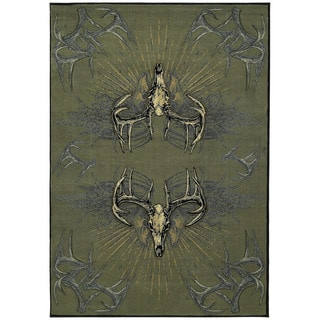 Wildwood Golden Horns Multicolored Popypropylene Hand-carved Area Rug (5'3 x 7'6)