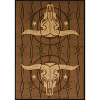 "Westfield Home Wildwood Double Trouble Toffee Hand-carved Area Rug - 5'3"" x 7'6"""