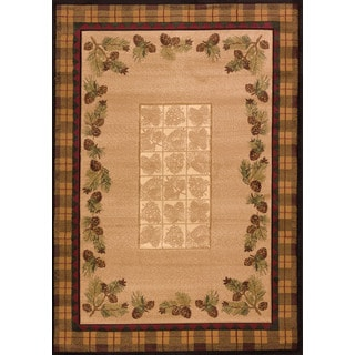 "Wildwood Plaid Pines Toffee Hand Carved Area Rug (7'10"" X 10'6"")"