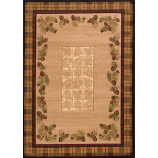 "Wildwood Plaid Pines Toffee Hand Carved Area Rug - Natural/Brown - 7'10"" x 10'6"""