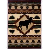 "Wildwood Proud Moose Multi Hand-carved Area Rug - 7'10"" x 10'6"""