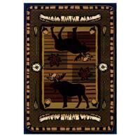 Wildwood Moose Hunt Terracotta Hand-carved Area Rug - 7'10 x 10'6