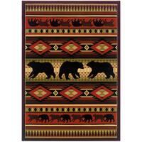 Wildwood Bear Play Hand-carved Area Rug (7'10 x 10'6)