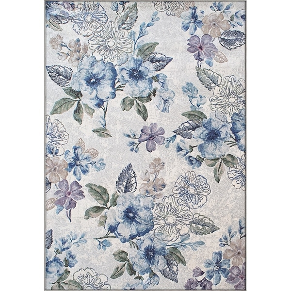 Shop Twilight Cream Blue Area Rug 53 X 77 Free Shipping Today