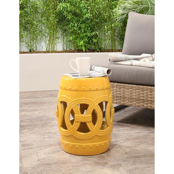 Abbyson Moroccan Yellow Garden Stool Free Shipping Today