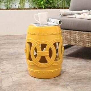 Abbyson Moroccan Yellow Garden Stool