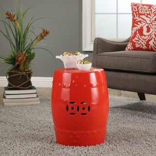 ABBYSON Madras Red Ceramic Garden Stool