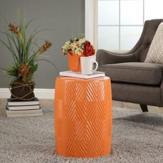 Abbyson Camila Orange Ceramic Garden Stool