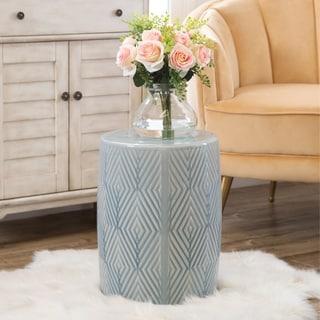 Abbyson Camila Grey Ceramic Garden Stool