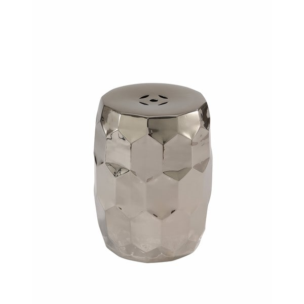Abbyson Milan Silver Chrome Ceramic Garden Stool   Free Shipping Today    Overstock.com   21075108