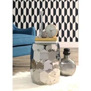 Abbyson Milan Silver Chrome Ceramic Garden Stool
