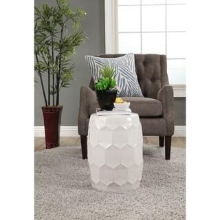 Abbyson Milan White Ceramic Garden Stool