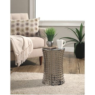 Abbyson Zoe Silver Chrome Ceramic Garden Stool