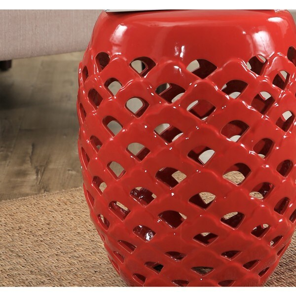 Abbyson Oakley Red Ceramic Garden Stool   Free Shipping Today    Overstock.com   21075117