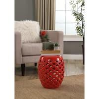 Abbyson Oakley Red Ceramic Garden Stool