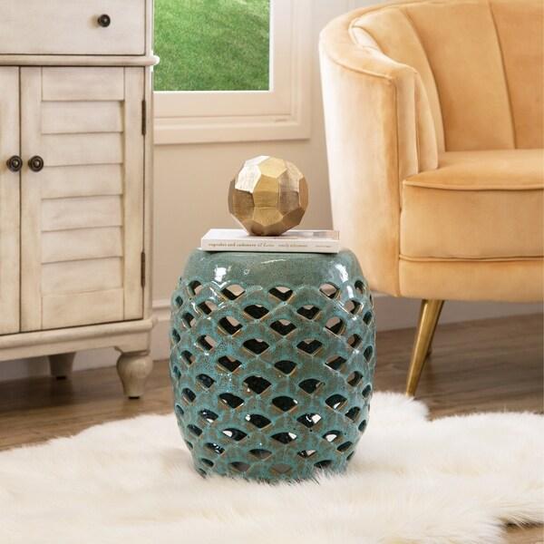 Delicieux Abbyson Oakley Antique Teal Ceramic Garden Stool
