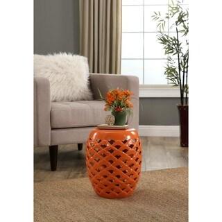 Abbyson Oakley Orange Ceramic Garden Stool