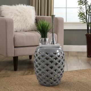 Abbyson Oakley Grey Ceramic Garden Stool