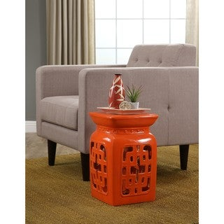 Abbyson Leighton Orange Ceramic Garden Stool