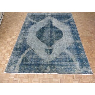 """Hand Knotted Silver Gray Tabriz with Wool Oriental Rug (9'3"""" x 12'2"""")"""