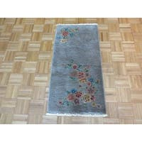 Hand Knotted Gray Art Deco Chinese with Wool Oriental Rug - 2 x 3
