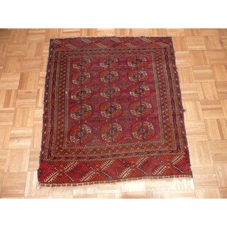 Hand Knotted Red Fine Bokara with Wool Oriental Rug (3'5 x 3'10)