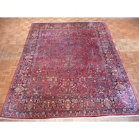 Hand Knotted Red Sarouk with Wool Oriental Rug - 8 x 10