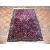 Hand Knotted Red Fine Sarouk with Wool Oriental Rug - 4 x 6