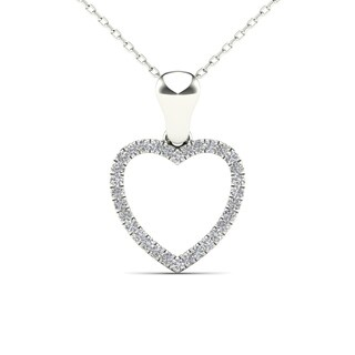 Aalilly 10k White Gold 1/10ct TDW White Diamond Heart Pendant Necklace