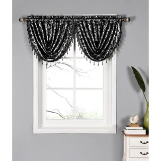 Window Elements Dawson Shimmering Leaf 19-inch Waterfall Window Valance - 44 in. x 19 in. (Option: Taupe)