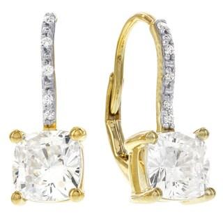 H Star 10k Yellow Gold Cubic Zirconia Princess Cut Lever Back Earrings