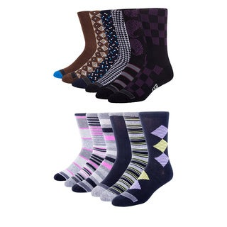 Ike Behar Men's Colorful Patterned Casual Crew Socks (Pack of 12)