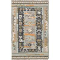 ECARPETGALLERY Hand-woven Esme 300063 Blue/Grey Wool and Cotton Kilim Rug (5'3 x 8')