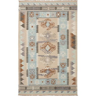 ECARPETGALLERY Esme 300059 Blue/Green Wool Handwoven Kilim Rug