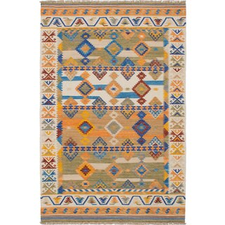 Ecarpetgallery Hand-woven Esme 300065 Ivory Wool and Cotton Kilim (5'3 x 8')
