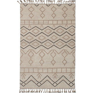 Ecarpet Gallery Hand-Knotted Tangier 20016 Ivory Wool Rug (4'11 x 7'10)