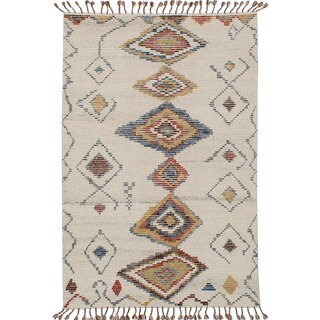 Ecarpet Gallery Hand-Knotted Tangier 20026 Ivory Wool Rug (4'11 x 7'10)