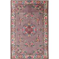 Ecarpet Gallery Hand-Knotted Melis Vintage Purple Wool Rug (6'2 x 9'7)