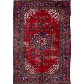 Ecarpet Gallery Hand-Knotted Melis Vintage Red Wool Rug (6'2 x 9'3)