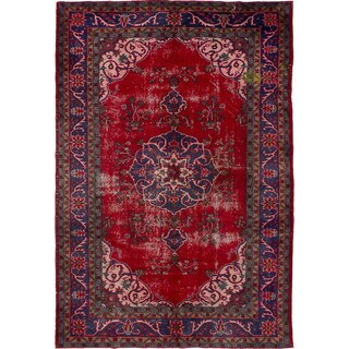 Ecarpet Gallery Hand-Knotted Melis Vintage Red Wool Rug (6'2 x 9'3)