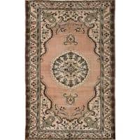Ecarpet Gallery Hand-Knotted Antalya Vintage Brown Wool Rug (6'6 x 9'11)