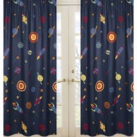 Galactic Planets Rocket Ship Window Curtain Panel Pair
