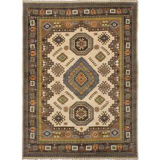 Ecarpet Gallery Hand-Knotted Royal Kazak Ivory Wool Rug (9' x 12'2)