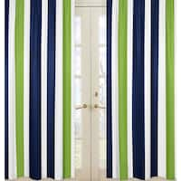 Sweet Jojo Designs Striped Navy Blue/Lime Green/ White Window Curtain Panel Pair