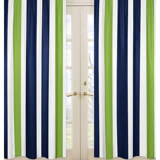 Sweet Jojo Designs Striped Navy Blue Lime Green White Window Curtain Panel Pair