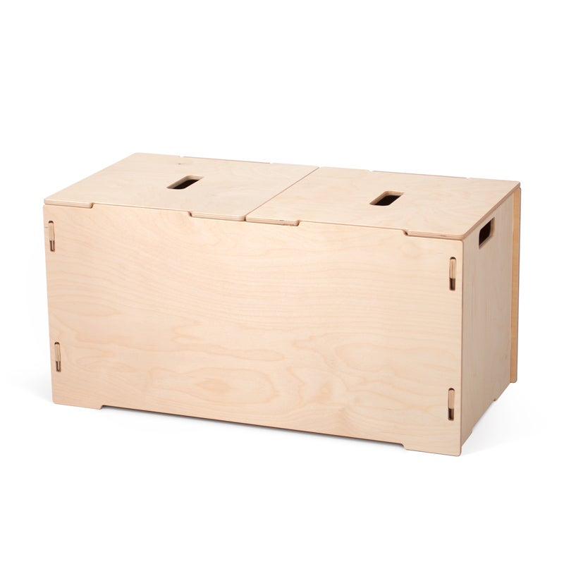 Sprout Ease Large Kids Wooden Toy Box (Tan - Wood Finish/...